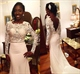 White Long Sleeve Lace Applique Bodice Wedding Dress With Open Back