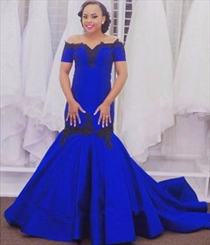 Royal Blue Off The Shoulder Lace Embellished Evening Dress With Train