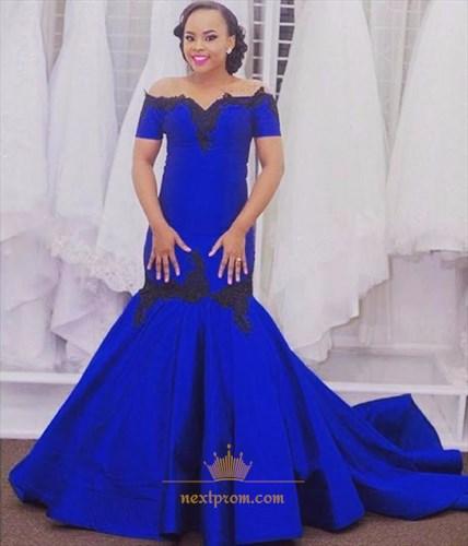 Royal Blue Off The Shoulder Lace Embellished Evening Dress With Train