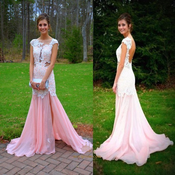 Pink Chiffon Long Prom Dress With Lace Applique Bodice And Open Back