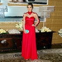 Red Illusion Long Sleeve Chiffon Long Prom Dress With Lace High Neck