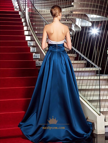 Elegant Navy Blue Strapless A-Line Floor Length Evening Dress With Bow