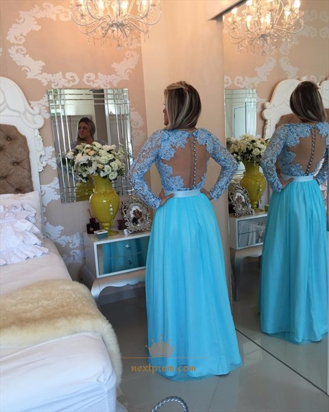 Long Sleeve Chiffon Prom Dress With Lace Beaded Bodice And Sheer Back