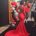 Red Sheer Lace Embellished Long Sleeve Mermaid Prom Dress With Train
