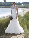 Illusion Lace Embellished Halter Tulle Wedding Dress With Open Back