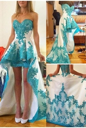 Strapless Turquoise Lace Embellished High Low Prom Dress With Train