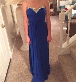 Royal Blue Strapless A Line Beaded Chiffon Prom Dress With Open Back