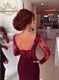 Burgundy Floor Length Prom Dress With Sheer Long Sleeve And Open Back