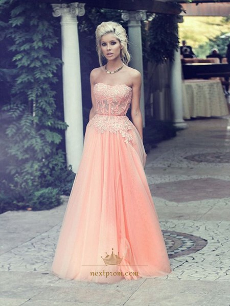 Elegant Strapless Corset Bodice Chiffon Prom Dress With Tulle Overlay