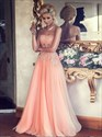 Elegant Strapless Corset Bodice Chiffon Prom Dress With Tulle Overlay