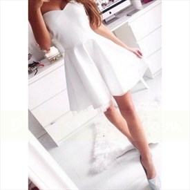Cute White Strapless Sweetheart Neckline Homecoming Dress With Tulle