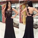 Black Sleeveless Lace Bodice Illusion Back Sheath Mermaid Prom Dress