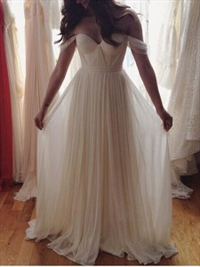 Ivory Elegant Off The Shoulder Sweetheart Ruched Chiffon Wedding Dress