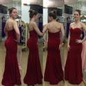 Simple Burgundy Strapless Sweetheart Sheath Mermaid Bridesmaid Dress