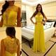 Yellow Sleeveless Illusion Lace Embellished Chiffon Long Prom Dress