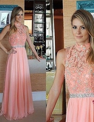 Coral High Neck Lace Beaded Top Chiffon Bottom A Line Prom Long Dress