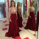 Burgundy Sleeveless Applique Bodice A Line Floor Length Chiffon Dress