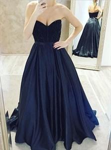 Elegant Navy Blue Strapless Sweetheart Prom Dress With Beaded Bodice