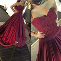 Burgundy Elegant Strapless A Line Ruched Ball Gown With Lace Bodice