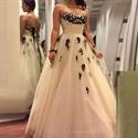White Strapless Applique Embellished Tulle Floor Length Wedding Dress