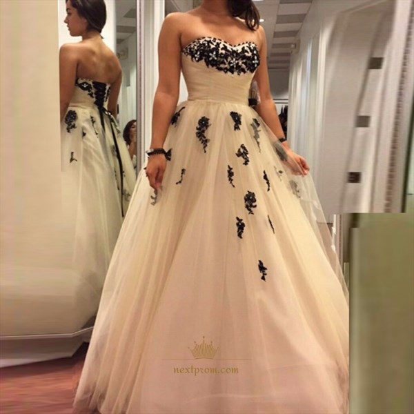 White Strapless Applique Embellished Tulle Floor Length
