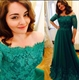 Hunter Green Off The Shoulder Lace Embellished Chiffon Long Prom Dress