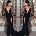 Black Side Slit Evening Dress With Sheer Applique Embellished Bodice