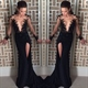 Black Side Slit Evening Dress With Sheer Applique Embellished Bodice