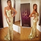 Simple Champagne Strapless Sweetheart Sequin Mermaid Bridesmaid Dress