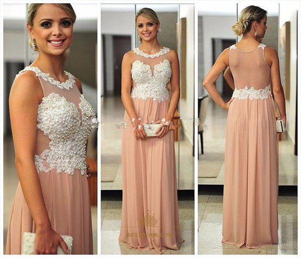 Peach Sleeveless Long Chiffon Evening Gown With Sheer Beaded Bodice