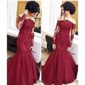 Burgundy Off Shoulder Sheer Sleeve Lace Embellished Mermaid Prom Dress