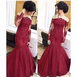 Burgundy Off Shoulder Sheer Sleeve Lace Embellished Mermaid Prom Dress