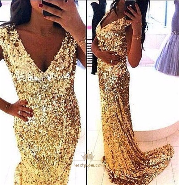 Sparkly Capped Sleeve V Neck Sequin Sheath Mermaid Long Prom Dress