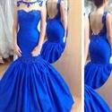 Royal Blue Lace Embellished Backless Prom Dress With Sheer Neckline