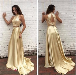 Champagne Halter Two Piece Prom Dress With Beaded Bodice And Keyhole