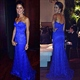 Royal Blue Strapless Sweetheart Lace Embellished Mermaid Evening Dress