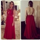 Red Sleeveless Beaded Waist Sheer Back Prom Dress With Front Keyhole