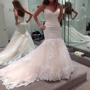 Ivory Strapless Lace Embellished Tulle Sheath Wedding Dress With Train