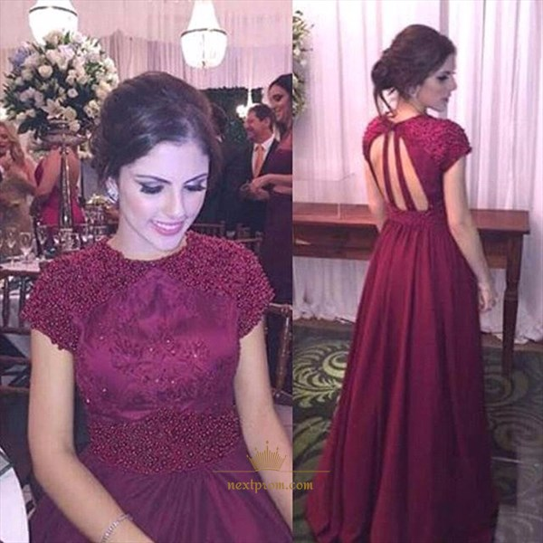 Burgundy Cap Sleeve Beaded Bodice Keyhole Back Chiffon Long Prom Dress