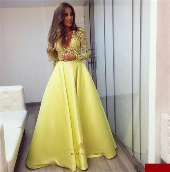 Illusion Long Sleeve Deep V Neck Lace Bodice Ball Gown Evening Dress