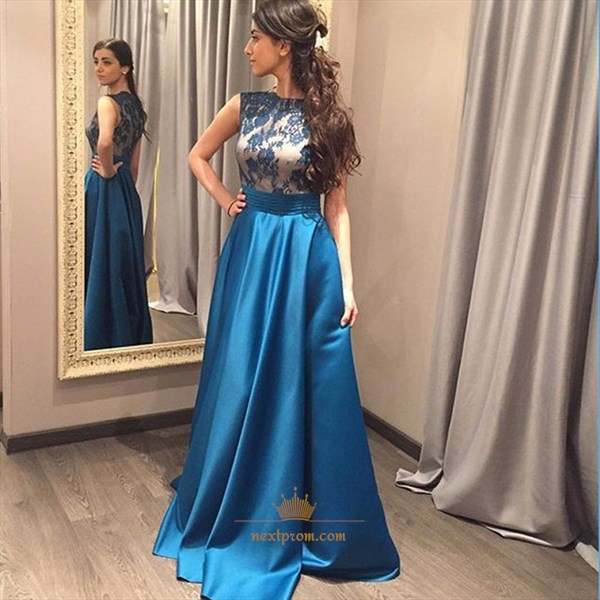 Elegant Sleeveless Floor Length Prom Gown With Lace Embellished Bodice