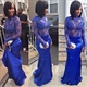 Royal Blue Long Sleeve Mermaid Prom Dress With Illusion Lace Bodice