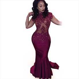 Burgundy Cap Sleeve Illusion Lace Embellished Mermaid Evening Dress