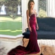 Burgundy Strapless Sweetheart Beaded Mermaid Evening Dress With Train