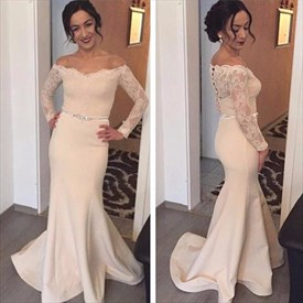 Off The Shoulder Lace Long Sleeve Mermaid Prom Dress With Closed Back