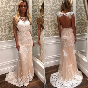 Sleeveless Lace Embellished Tulle Mermaid Prom Dress With Open Back