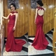 Burgundy Illusion Lace Embellished Mermaid Evening Gown With Open Back