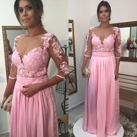 Pink Lace Bodice A-Line Ruched Chiffon Prom Dress With Sheer Sleeve