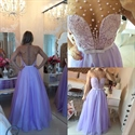 Lavender Sheer Short Sleeve Beaded Embellished Chiffon Long Prom Dress