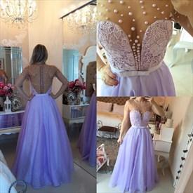 Lavender Sheer Short Sleeve Beaded Embellished Chiffon Long Prom Dress